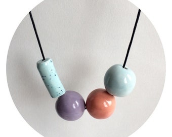 Ceramic necklace, turquoise necklace, coral necklace, tube bead necklace, chunky bead necklace, speckled necklace, porcelain necklace,