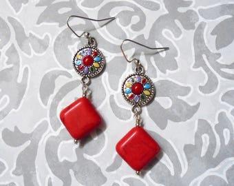 Red Magnesite Flower Earrings (3819)