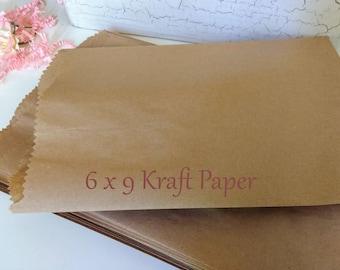 Paper Bags, Gift Bags, Kraft  Paper Bags,Brown  Bags, Favor Bags, Kraft Paper Bags,  Candy Bags, Colored Bags 6 x 9
