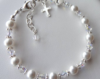 Confirmation -  Swarovski Crystal Pearl and  Sterling Silver Heart Initial Personalized  Children Rosary Bracelet - First Communion Bracele
