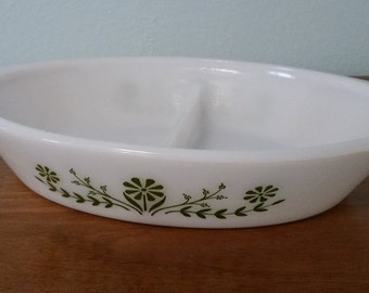 Glasbake Green and White Flower Divided Casserole Dish