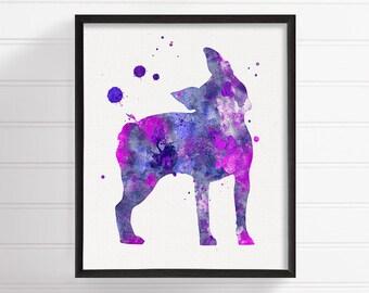 Watercolor Boston Terrier, Boston Terrier Art, Boston Terrier Print, Boston Terrier Poster, Dog Wall Art, Dog Lover Gift, Purple Dog Art
