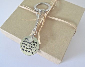 "Teacher Key chain with special message "" Thank you for making a difference in lives of students"""