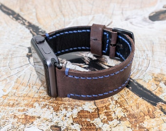 Leather Apple Watch Band, 42mm, 38mm | Hand Stitched Apple Watch Band | Leather Apple Watch Strap