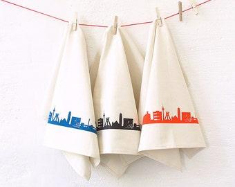 Flour Sack Towel RUHRPOTT, Set of 3, Dish Towel, housewarming gift, Green Gift, Kitchen Decor, bridal wedding gift, Bohemian Hostess Gift