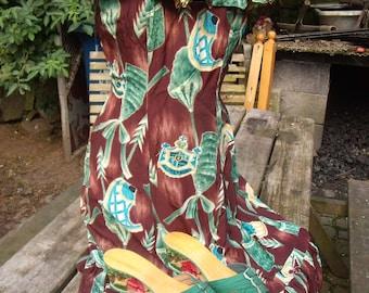 "REDUCED -Original 1940's WW2 ""Aloha Hawaii"" Dress And Matching Shoes"