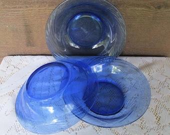 Cobalt Blue Bowls | Vintage Salad Bowls | Blue Kitchen Decor