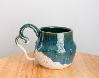 Handmade Ceramic Coffee Mug, Unique Handmade Pottery, Crafted Handle