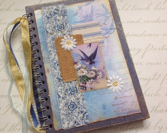 NOTEBOOK, journal, sketchbook . A5 .  ' Swallows' . OOAK . MIxed media . UK seller...Ready to ship......