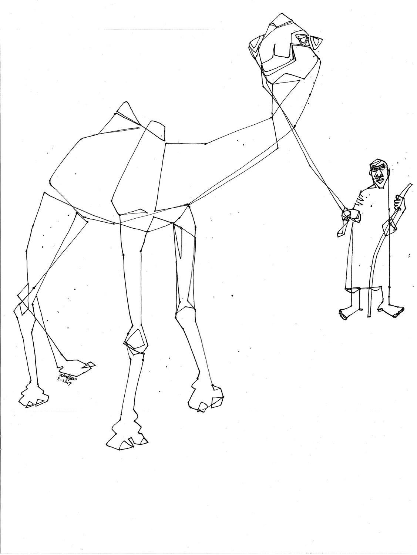 Hombre camello dibujo lineal Joky de camello y su camello