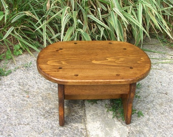 """Oval Foot Stool, Handcrafted Heavy Duty, Wooden, Bed, Pet Step, Bathroom, 10"""" x 15"""" x 7.5""""H, or 6"""" 5"""", Pick height & color. Big one in store"""