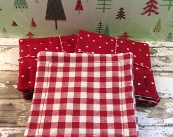Coasters Handmade Fabric Coasters Red and White Check and Polkadots