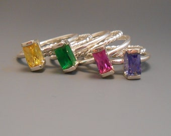 Stackable Rings Cubic Zirconia Upcycled Created Yellow Green Pink Ultra Violet Tanzanite Rope Sterling Silver Ring Synthetic