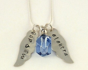 Pet Memorial Necklace - Blue Vial Pendant with Angel Wings - Sterling Silver