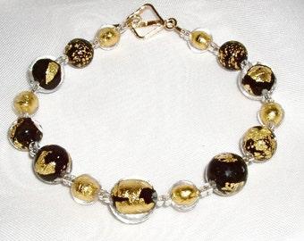 24K Gold and Black Murano Tosca Glass Bracelet