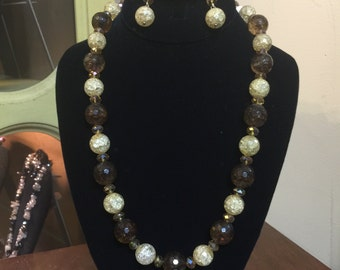 Brown & Yellow Cracked Glass Necklace Earring Set