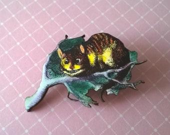 Alice in Wonderland Cheshire Cat Brooch,Handmade Pin,Accessories,Alice in Wonderland Jewelry,Cheshire Cat Brooch