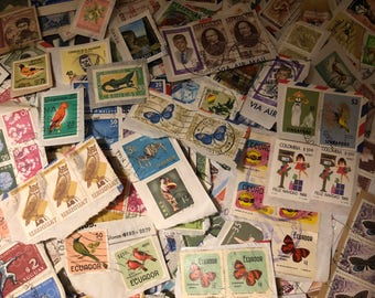 Vintage Postage Stamps, Over 840 Assorted Stamps, Over 50 Countries, 1960s 70s 80s, Cancelled Stamps on Paper