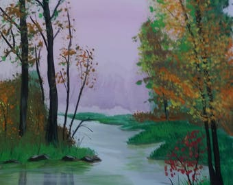 Autumn Reflections landscape.  Original acrylic painting on stretched 12x16 canvas.