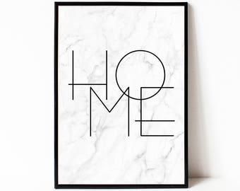 Home wall art print, printable poster, instant download marble wall art, typography poster, typography wall art, modern minimalist