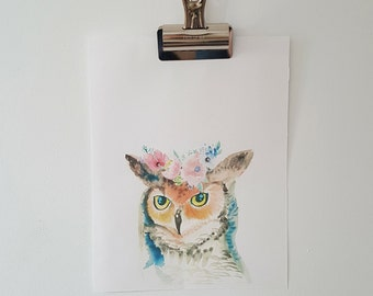 Owl with a Flower Crown watercolour print