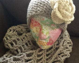 Oatmeal heather crochet mesh infinity scarf and ear warmer gift set cold weather accessory for winter