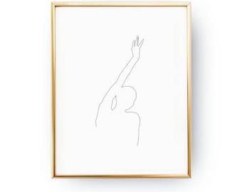 Raised Hand Print, Beauty Wall Art, Black And White, Sketch Art, Female Body Art, Minimal Art, Simple Fashion, Woman Art, Line Drawing Print