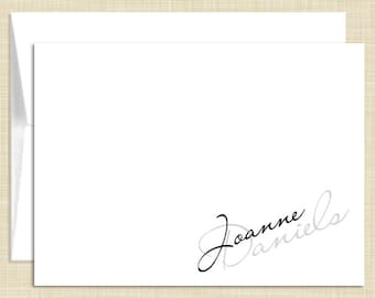 Personalized Note Cards Stationery Set - Chic Feminine Name - set of 10 - personalized stationary folded cards - choose color