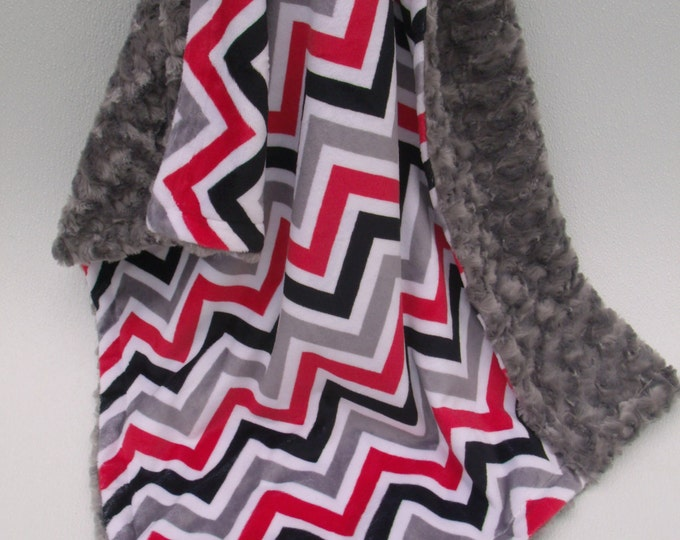 Red Black and Gray Chevron Minky Blanket, Silver Chevron Minky, Minky Dot or Rose Swirl Baby Blanket, Double Minky Blanket, Select a Size