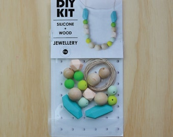 Necklace DIY KIT - Silicone and Wood Necklace - jewellery supplies - Turquoise Peach Green Silicone and Natural Wood beads