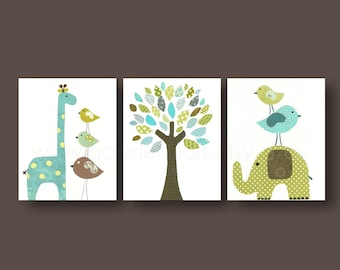 Baby Boy Nursery Decor Kids wall art Elephant nursery art Giraffe nursery Aqua blue green nursery wall art bird Tree - Set of three prints