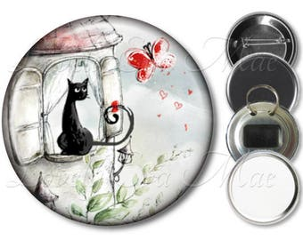 Black Cat Pocket Mirror, Yellow Cat, Compact Mirror Refrigerator Magnet, Bottle Opener Key Ring, Pin Back Button, Cat Keychain, Cat Gift