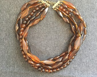 vintage necklace, brown/copper acrylic beaded choker, vintage beaded choker