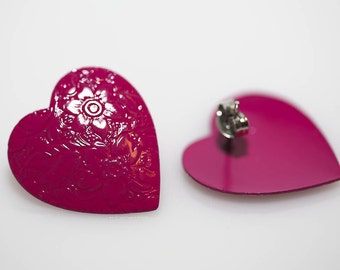 Pink Heart Enameled Earrings