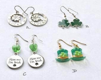 St Patrick's Day earrings - holiday earrings - shamrocks, green St. Paddy's jewelry