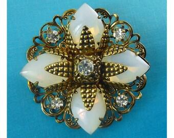1960's West Germany Opal Glass Filigree Flower Pin with Rhinestones