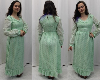 70s neon green with white lace overlay long sleeve formal maxi dress modern size 2 - 4 Small