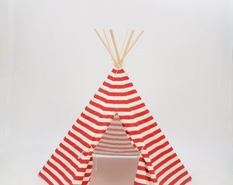 SALE Poles Included Teepee Play Tent Red and White Stripe 6 Panel