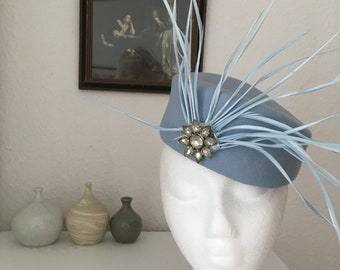 Baby Blue Felt Pillbox hat