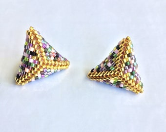 Gift for mom, Mother's day, Multicolor Triangle Post Earrings, Stud beaded Earrings, Seed bead Triangles, Made in Greece, minimalist