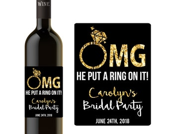 He Put A Ring On It Cheap Bridal Party Gifts, Favors, Personalized, Gold
