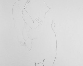 Line Drawing Female : Nude woman sketch female body art modern line drawing