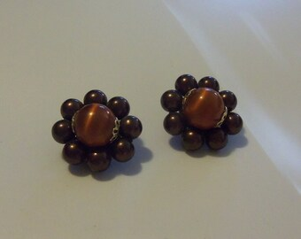 Mid-Century Cluster Earrings: Burnt Sienna and Purple Moonglow Lucite Beads - JAPAN