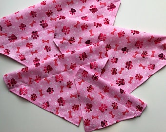 Pink Paw Prints Over the Collar Bandana