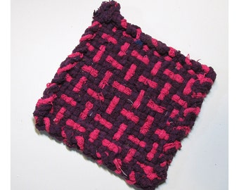 Sturdy Pink and Purple Hand Woven Large Cotton Potholder No.4