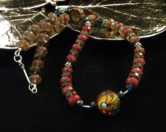 Artisan glass necklace, hand beaded necklace, lamp work glass necklace, red necklace, mothers day gift, mom gift, wife gift, daughter gift