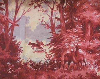 spectacular burgundy forest scene vintage retro dressmaking fabric