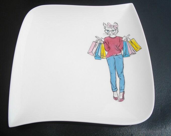 dessert plate / ceramic / handpainted / funny / cat / design