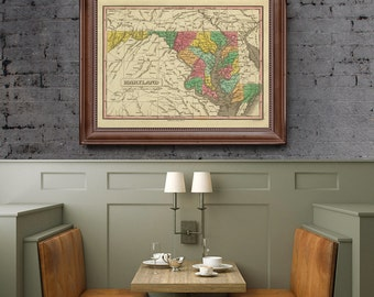 Maryland Antique Map, Maryland US State, Maryland Map, Printable Map, Vintage Map- CP031