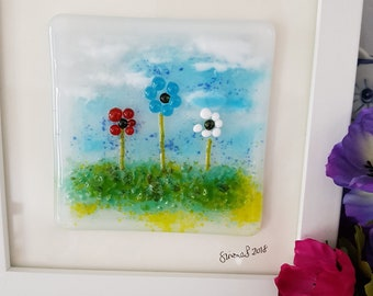 Fused glass art, framed fused glass picture, fused glass flower picture, white framed picture